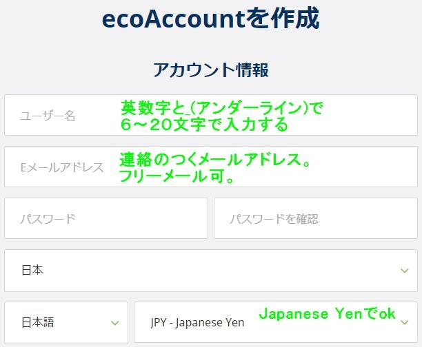 エコペイズアカウント情報入力欄の画像。