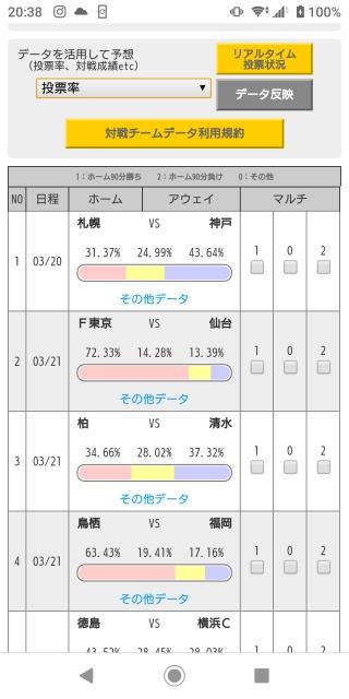 日本のスポーツTOTOくじの画面。