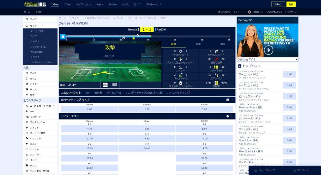 ウィリアムヒルのサッカーのベット画面。