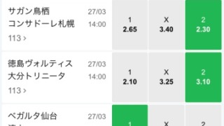 10BET JAPAN2021ルヴァンカップ第2節のオッズ。