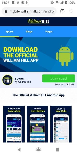 ウィリアムヒルアンドロイド版のスマホアプリダウンロードページの画像。