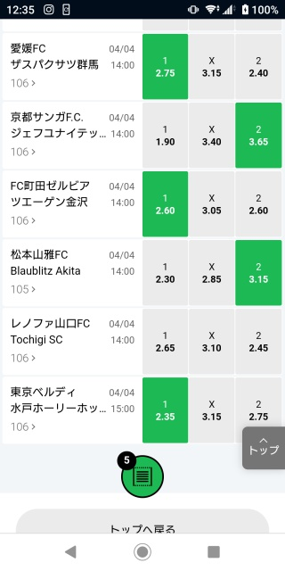 10BET JAPANサッカーJ2リーグのオッズ画像。