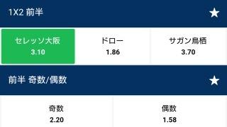 10BET JAPANセレッソ大阪vsサガン鳥栖の1x2前半の説明画像。