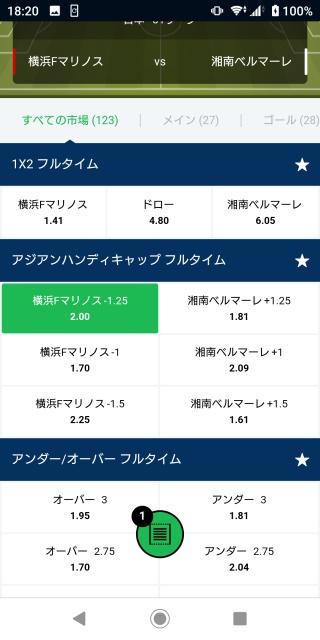 横浜Fマリノス対湘南ベルマーレのオッズ一覧表の画像。
