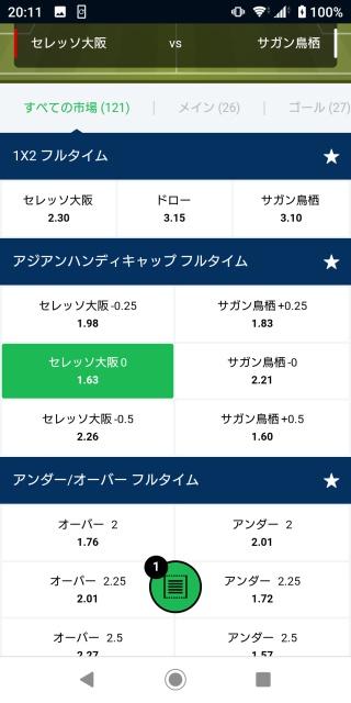 セレッソ大阪vsサガン鳥栖のオッズ一覧表の画像。