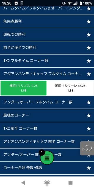 横浜Fマリノス対湘南ベルマーレのアジアンハンディキャップフルタイムコーナー数のオッズ画像。