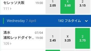 10BET JAPANのJリーグオッズ画面。