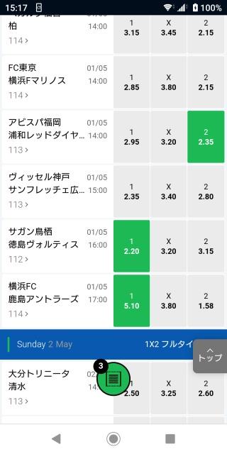 10BET JAPANサッカーJリーグのオッズ表。